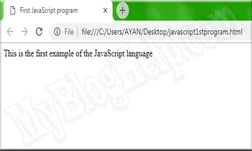 JavaScript First Program Example
