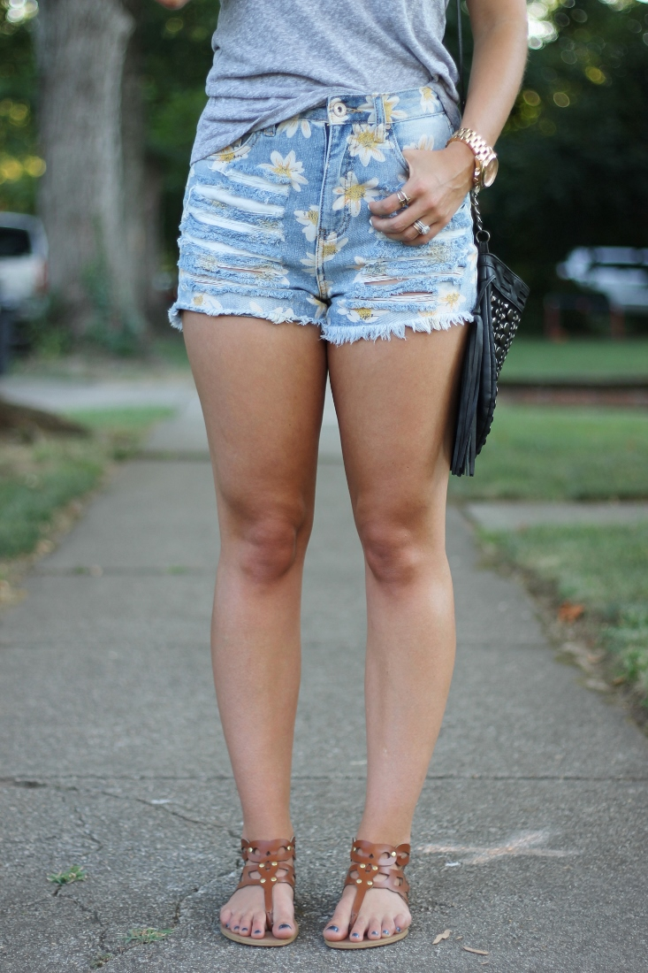 sole society sandals with jean shorts