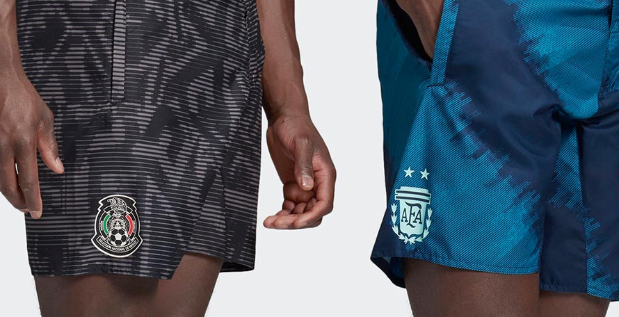 f5d39ad1c9 In a cool move, Adidas have released board shorts in the theme of the new  Argentina and Mexico kits.