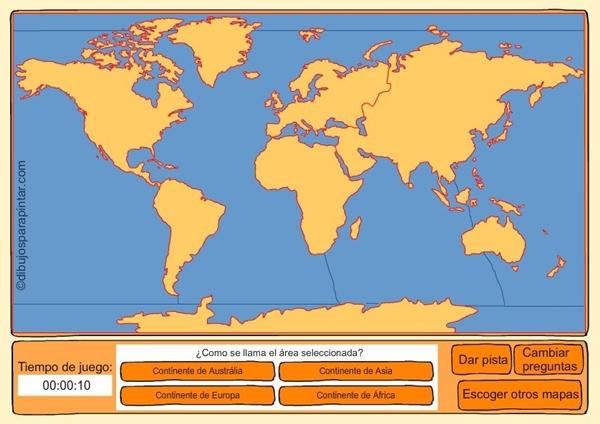"""Mapa Para Jugar Dónde Está Continentes Y Océanos: Juegos Educativos Online Gratis: """"Continentes Y Océanos"""""""
