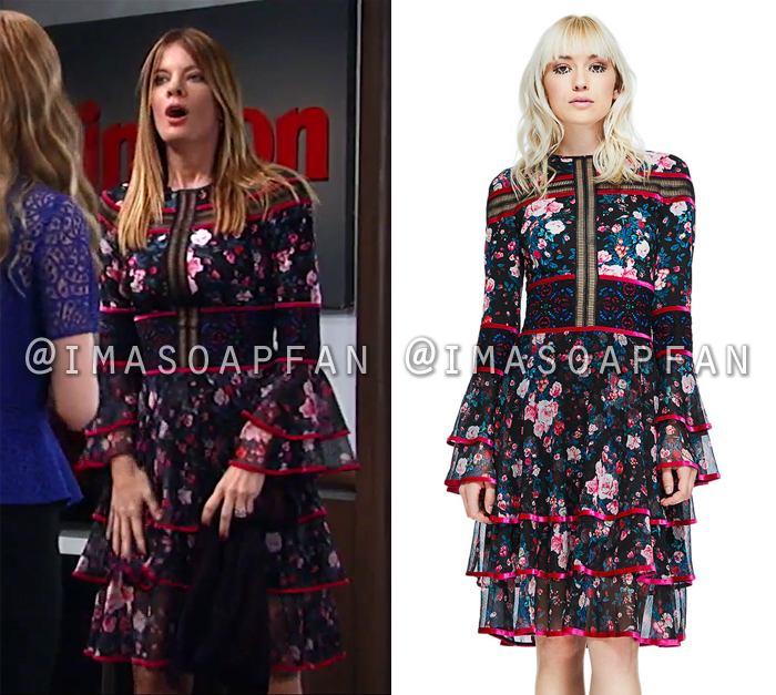 Nina Reeves, Michelle Stafford, Black and Pink Floral Tiered Dress, General Hospital, GH