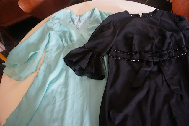 vintage chiffon green seafoam blue dress long sheer black party cocktail
