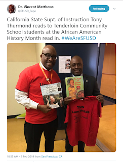 Screenshot of tweet of Dr. Matthews and Superintendent Thurmond at Tenderloin Community School.