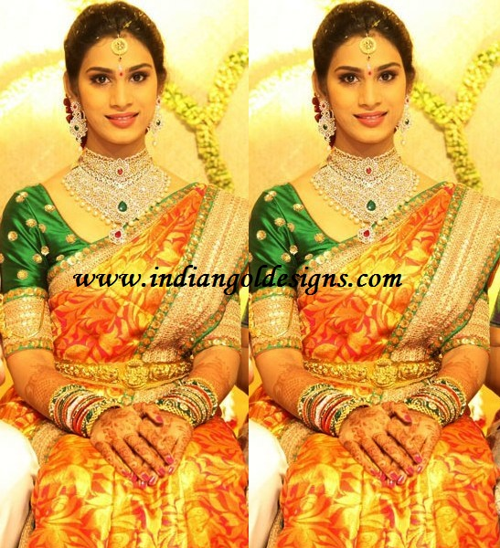 Latest saree designs orange bridal silk saree checkout orange bridal silk saree with zari work all over the saree and with border and paired with contrast green half sleeves blouse altavistaventures Image collections