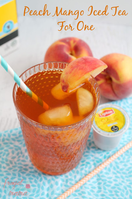 Make a refreshing, fruity flavored iced tea in minutes with this Peach Mango Iced Tea for One. #TeaMoments #ad