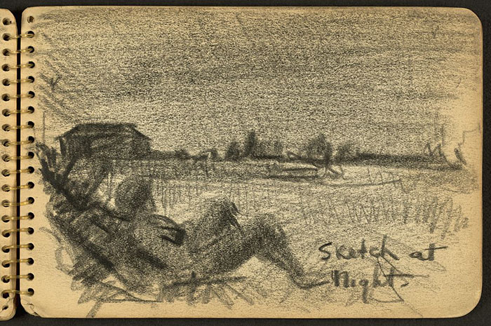 21-Year-Old WWII Soldier's Sketchbooks Show War Through The Eyes Of An Architect - Soldier Sitting On Ground At Night While Stationed At Fort Jackson, South Carolina