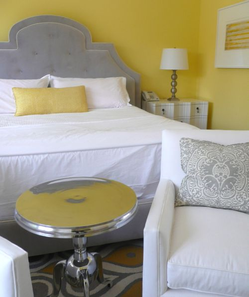 yellow and grey bedroom - photo #10