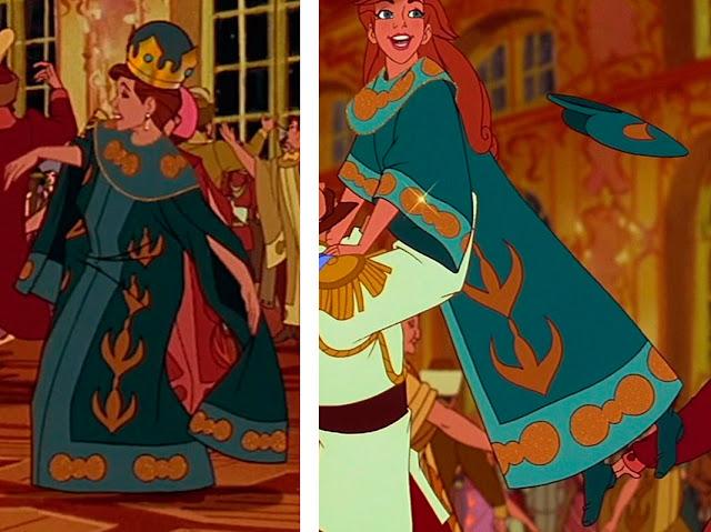 Nesta foto há duas imagens do filme onde Alexandra a Czarina mae de anastasia e a propria estao usando o mesmo casaco verde com bordados