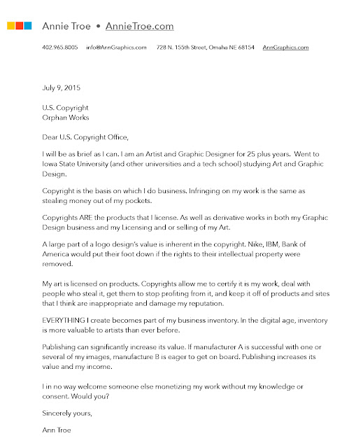 Orphan Works - Sample letter to Copyright office