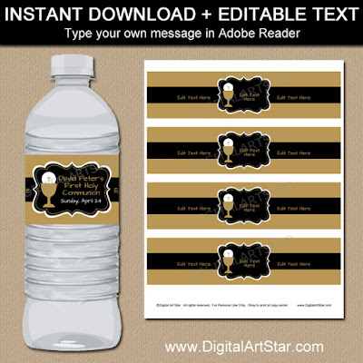 printable first communion water bottle labels in black and gold for boy first communion party