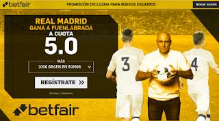 betfair supercuota victoria del Real Madrid al Fuenlabrada 28 noviembre