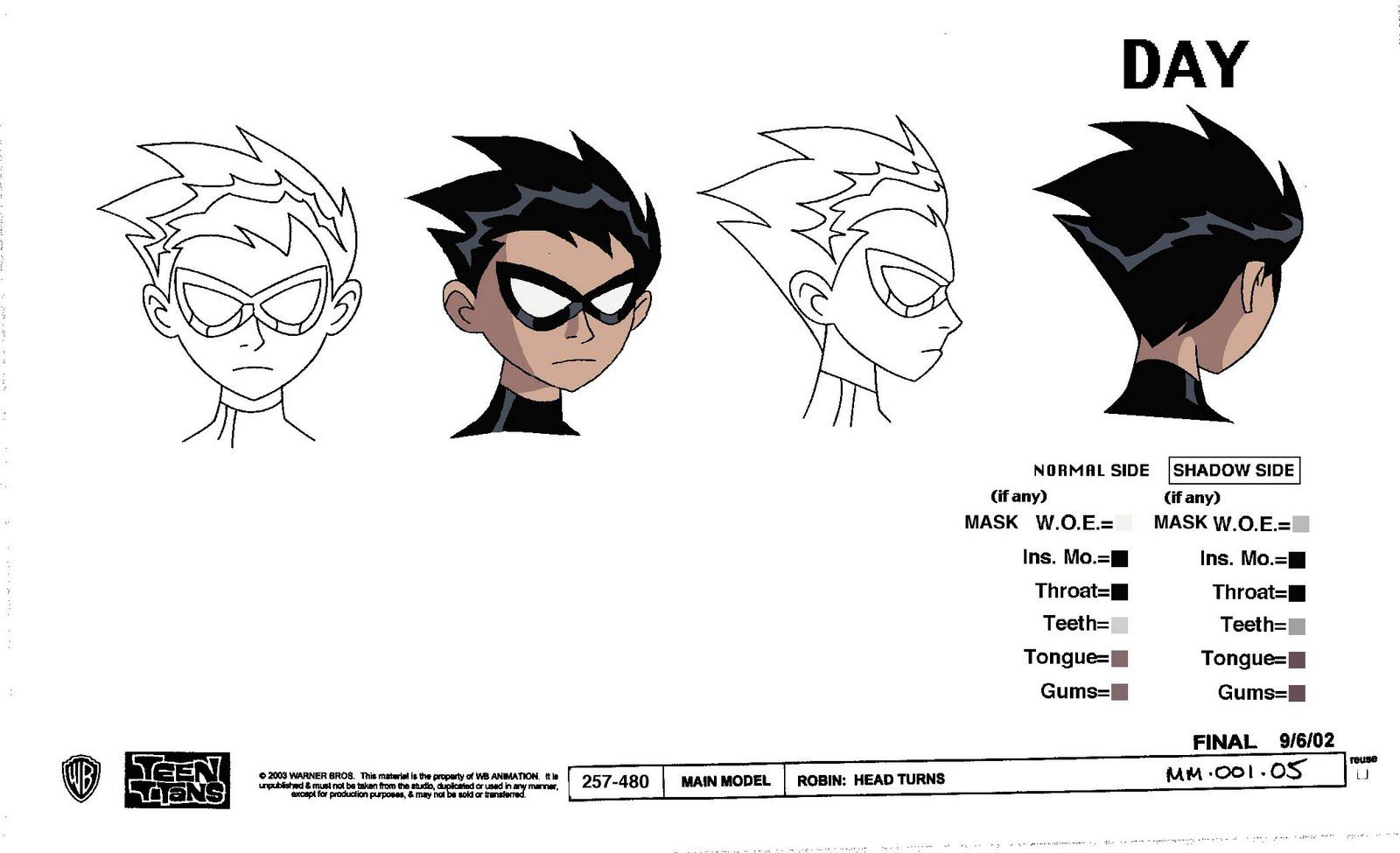 Modello di disegno del fumetto Teen Titans Model Sheets-5150