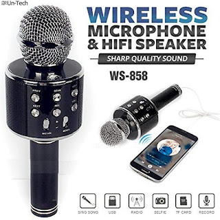 Gadgetbucket Un-Tech WS-858 Rechargeable Wireless Karaoke Bluetooth Microphone with Inbuilt Speaker with Audio recording for All IOSAndroid Smartphone (Colour May Vary)