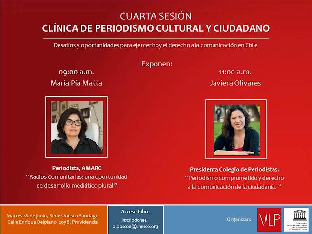Javiera Olivares expondrá este martes en Clinica de Periodismo Cultural y Ciudadano de la Unesco