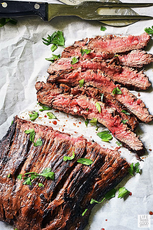 Slice cast iron flank steak thinly across the grain for maximum tenderness
