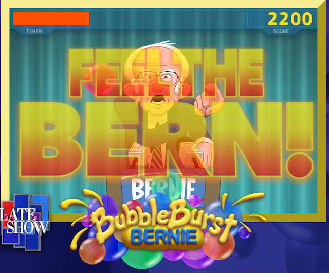Bernie Bubble Burst Feel the Bern special powerup gameplay Late Show