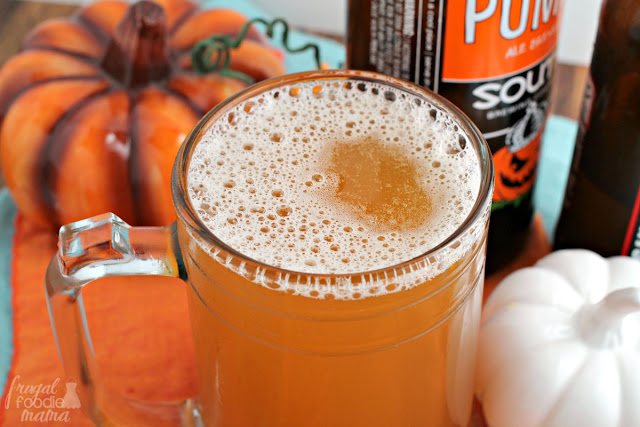This quick and easy two ingredient Pumpkin Ginger Shandy is the perfect cocktail for fall or Thanksgiving entertaining.