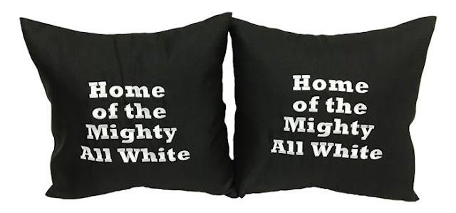"""Home of the Mighty All White "" printed on Black Cushions"