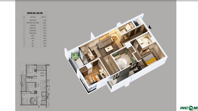 Thiết kế căn hộ loại C chung cư Northern Diamond