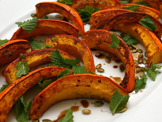 squash with mint and pepitas