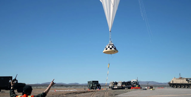 A high-altitude balloon lifts off in White Sands, New Mexico, carrying a boilerplate of Boeing's CST-100 Starliner to perform a drop test of the spacecraft's parachute system. The spacecraft was taken to 38,000 feet and released, picking up the same speed as it will have coming back from orbit, before opening its parachutes. Credits: Boeing