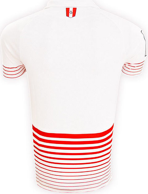 eb32b34ba The new Sevilla 2015-16 Away Jersey boasts a unique red-and-white stripes  design with two white vertical stripes on the front. New Balance uses a  unique ...