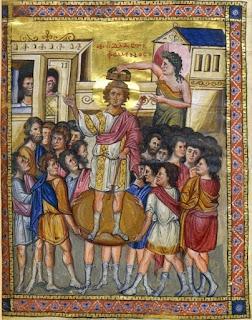 Ο Δαβίδ στεφόμενος. Μικρογραφία από το βυζ.Ψαλτήρι  της Εθνικής Βιβλιοθήκης των Παρισίων (αρχές 10ου αιώνος)
