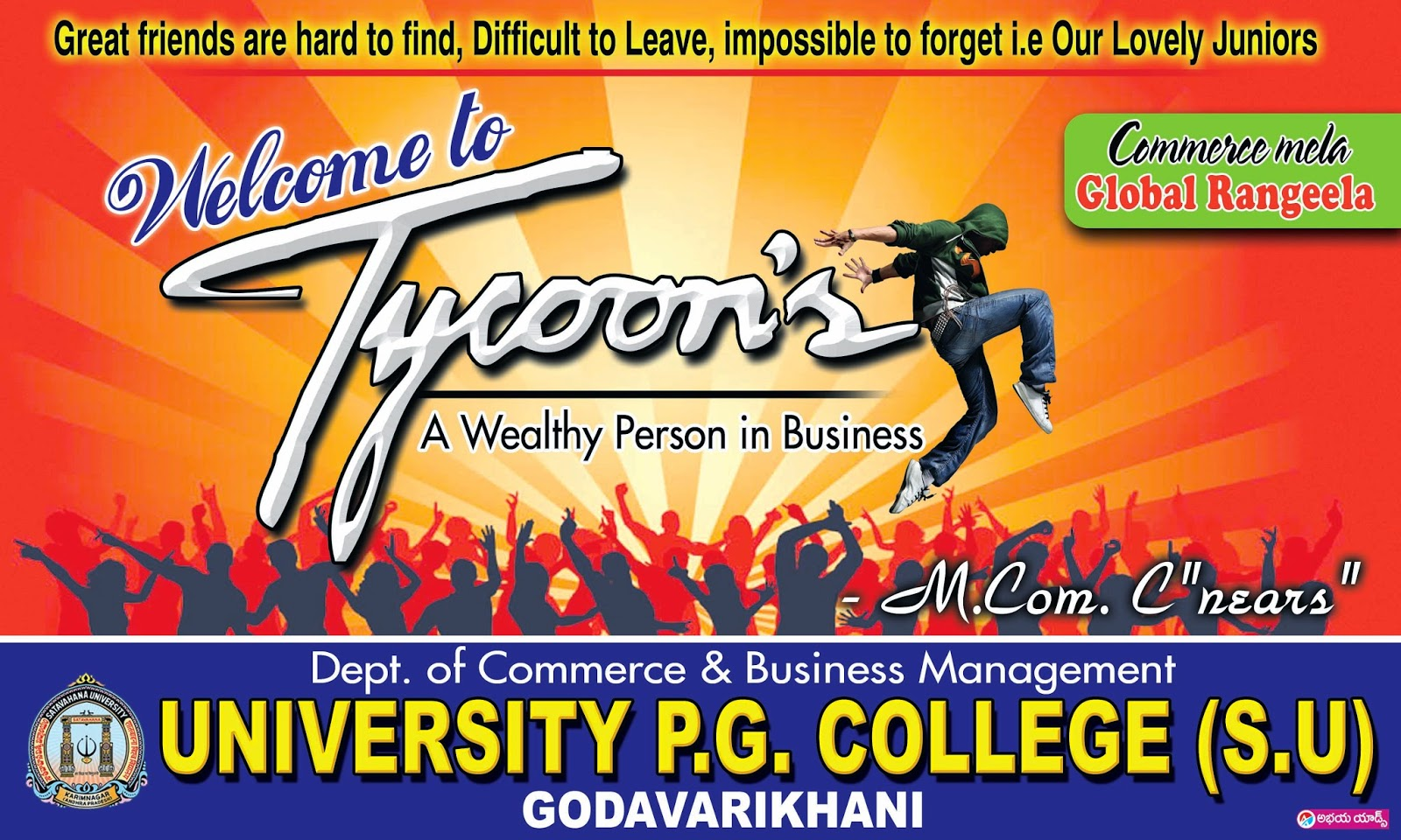 tycoons freshers party banner design template free naveengfx