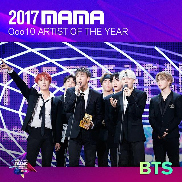 BTS artista do ano de 2017 MAMA