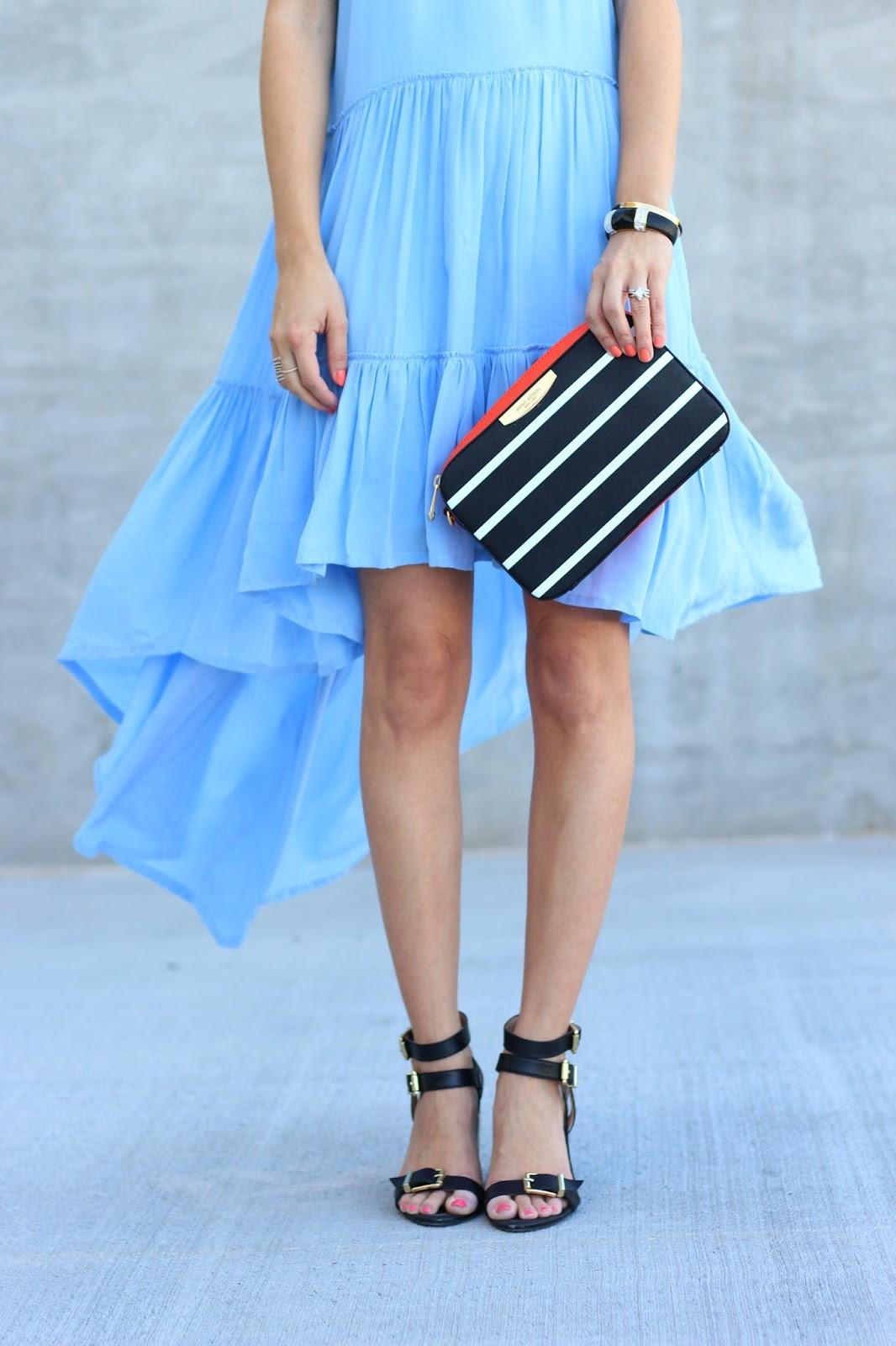 ruffle dress, stripe crossbody