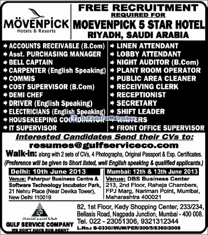 Free Recruitment For Movenpick 5 Star Hotel Saudi Arabia