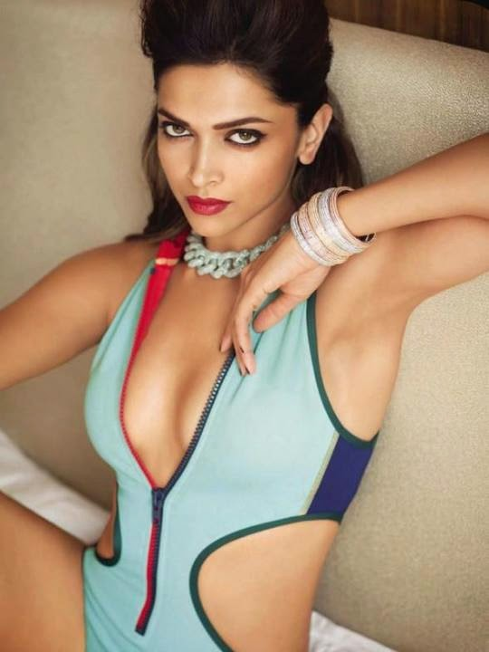 Deepika Padukone cleavage in bikini in sexy Vogue Magazine 2014 Photo