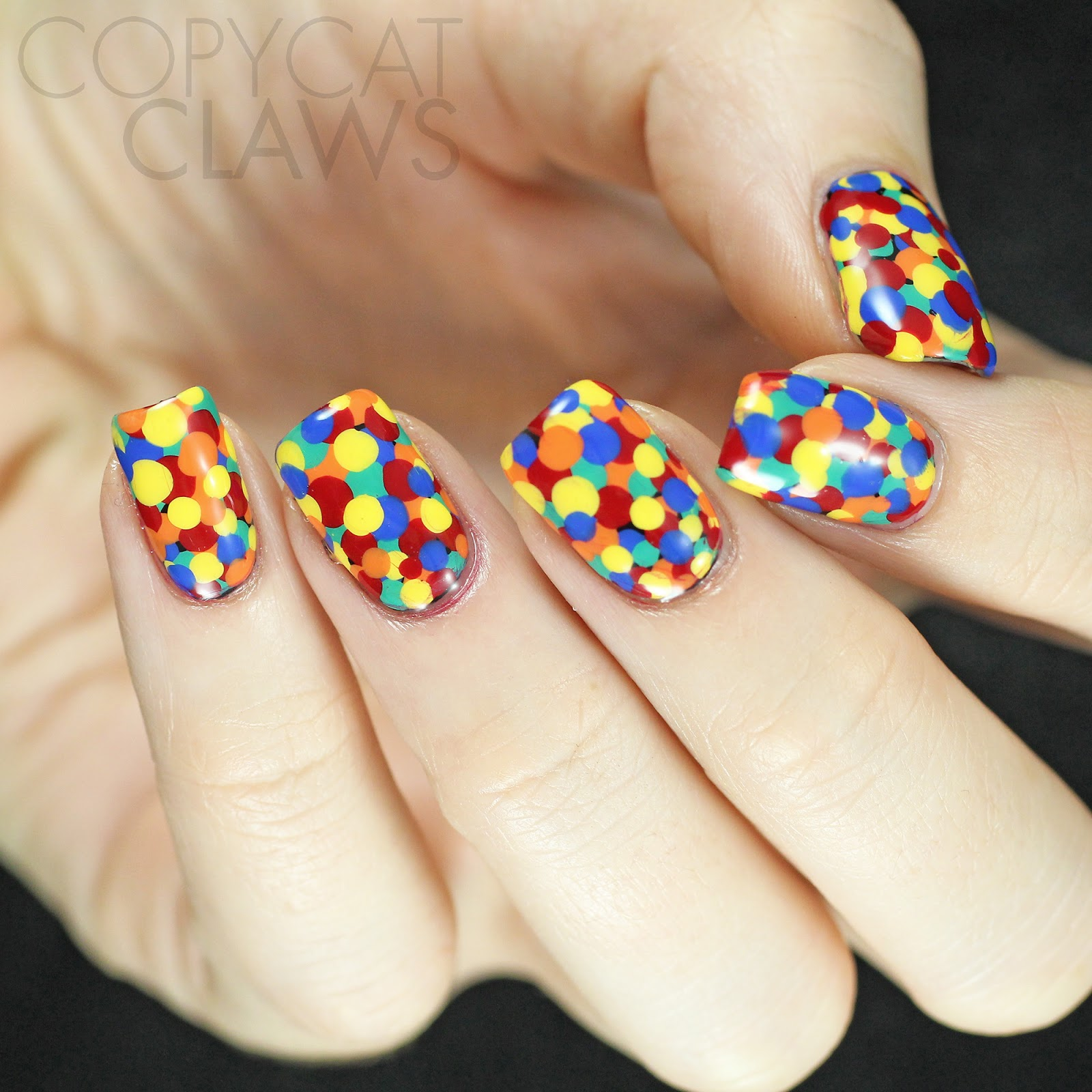 Copycat Claws Blue Color Block Nail Art: Copycat Claws: Primary Color Dotticure