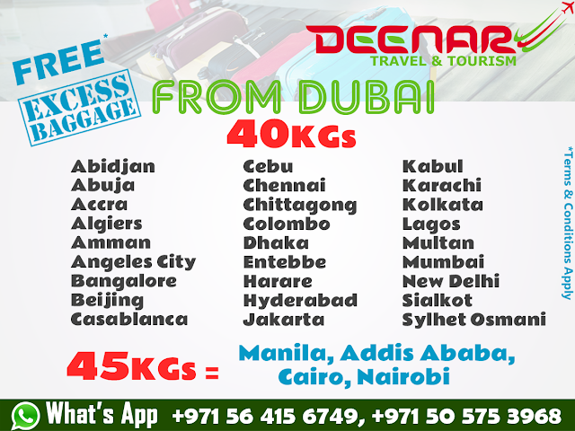 deenartravels, free baggage dubai