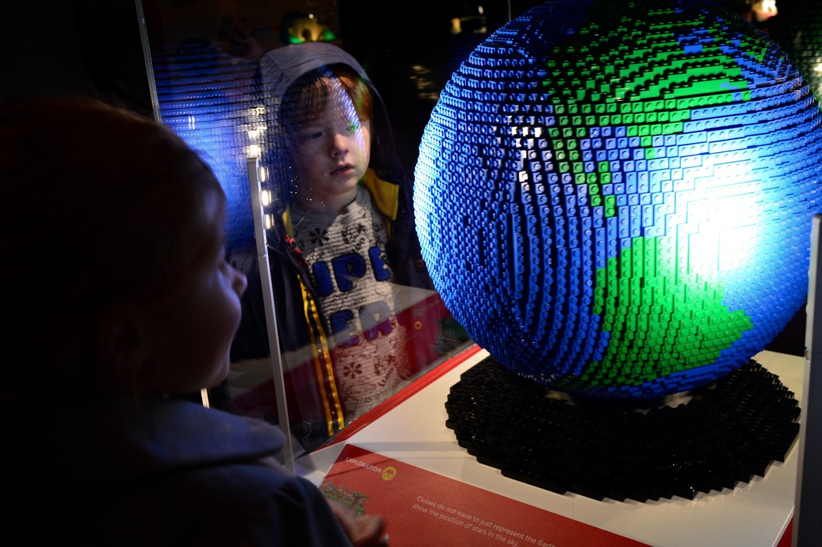 Brick History & North East Landmarks | New Lego Exhibitions at Life Science Centre, Newcastle | A Review - a spinning lego globe