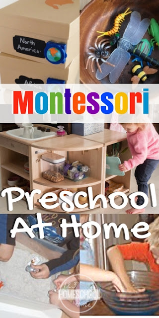 How to make a Montessori Preschool at Home - lots of tips, tricks, and specific ideas for home preschool, learning at home