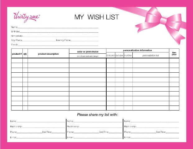 Mamaw 39 s place planning ahead for Birthday gift list template