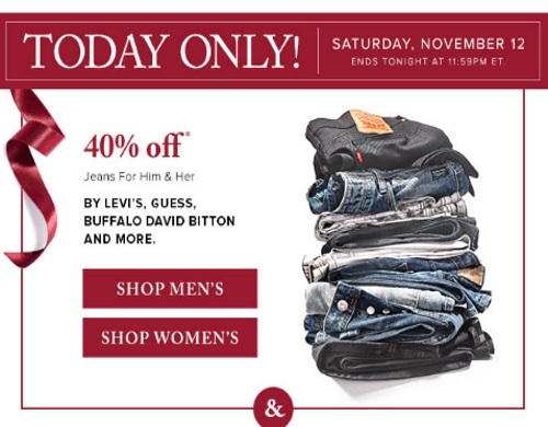 Hudson's Bay 40% Off Levis, Guess, Buffalo David Bitton Jeans + More Weekend Deals