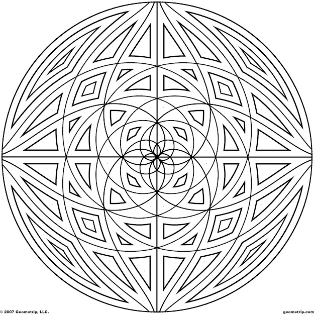 Detailed Coloring Pages For Adults  Geometrip  Free Geometric Coloring  Designs  Circles