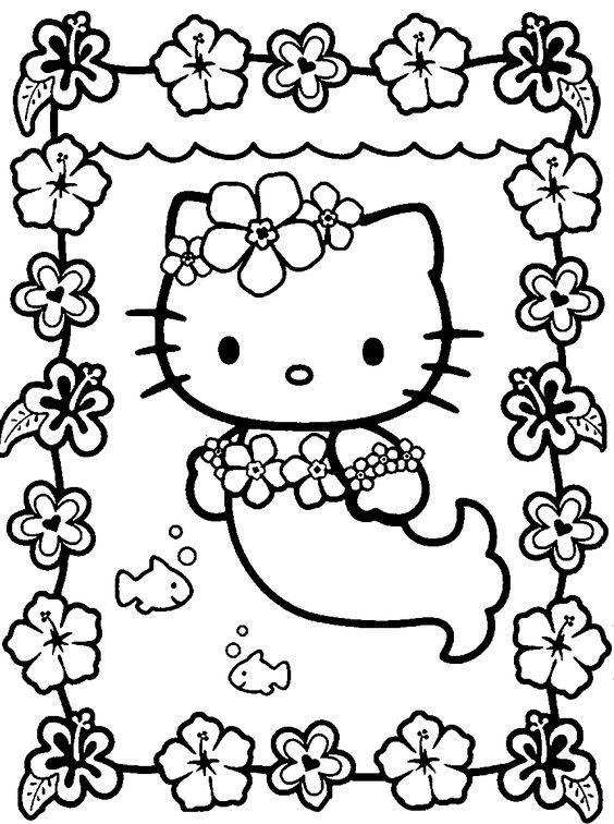 Tranh tô màu mèo hello kitty làm nàng tiên cá