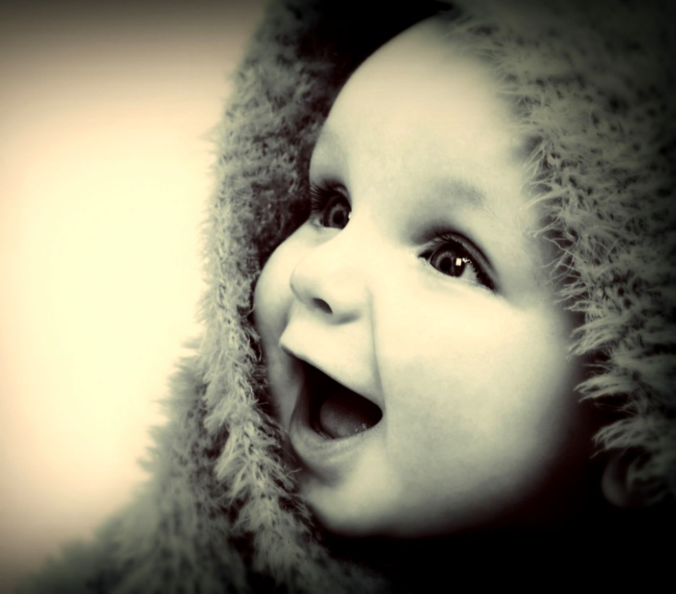 Wallpaper face white black model baby nose emotion happy