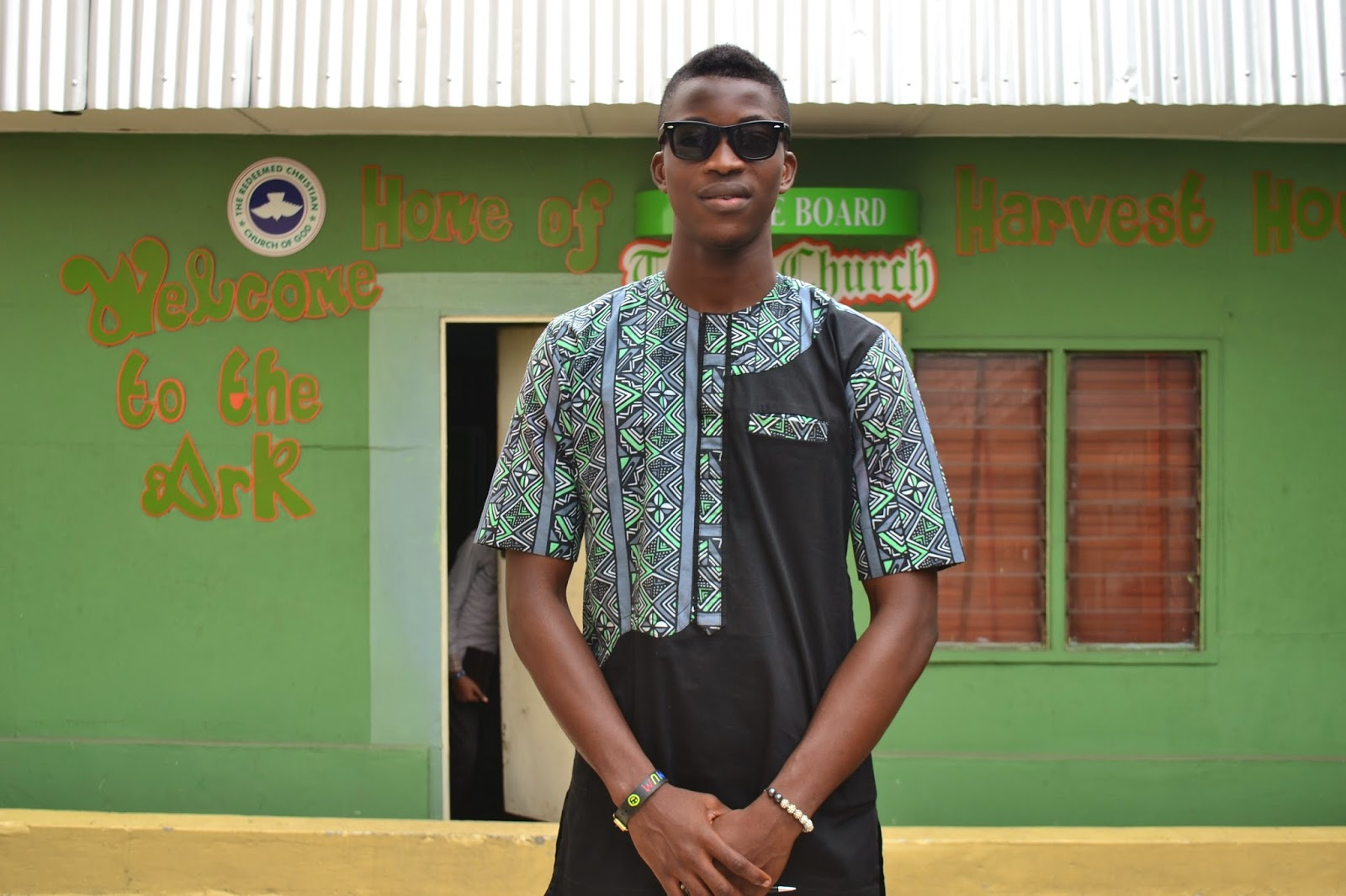 Ankara Patchwork Shirt on Black Model