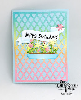 Stamp/Die Duos: Wavy Words  Custom Dies: Flower Box Fillers, Lattice Background