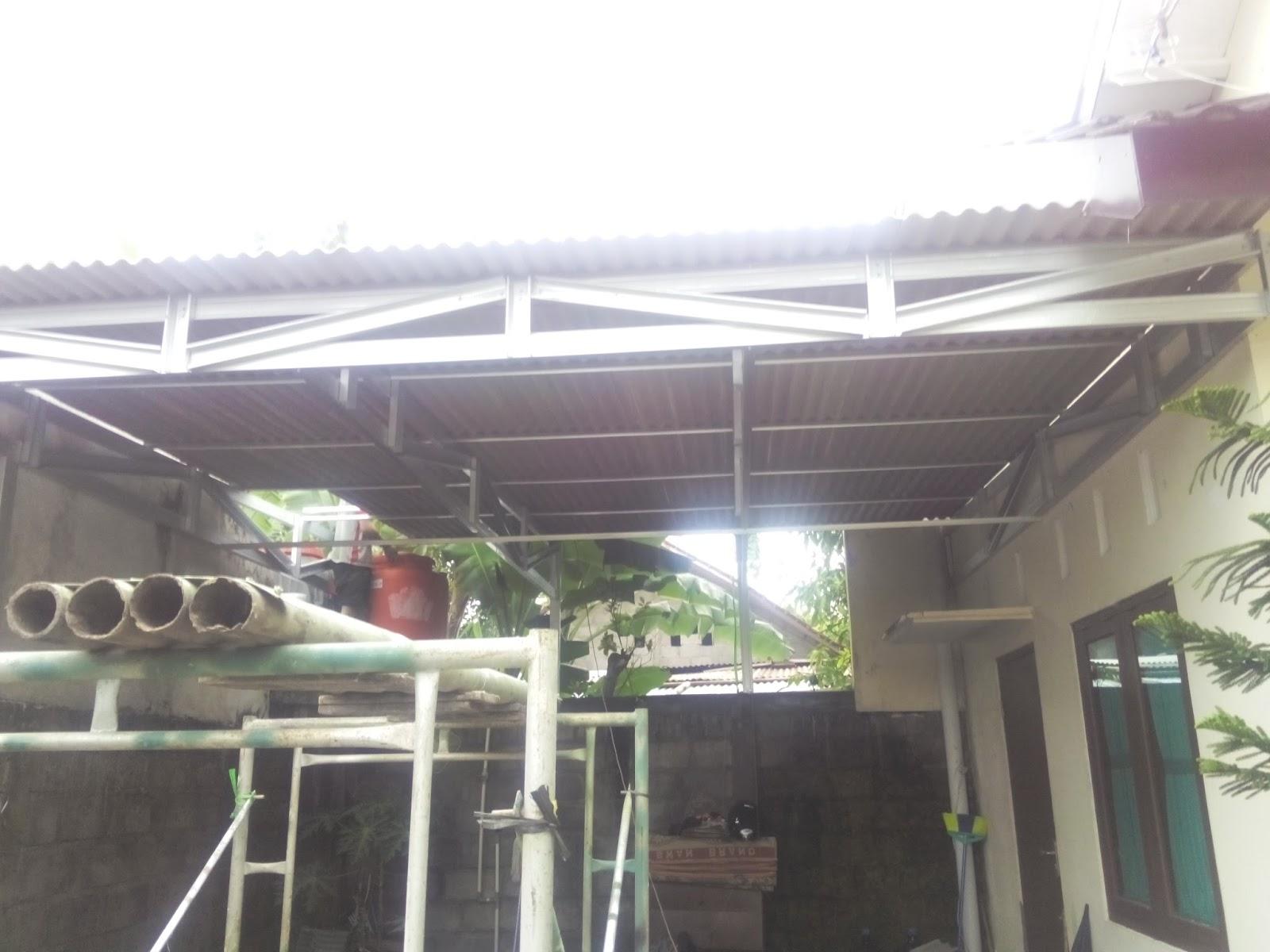 pemasangan kanopi rangka baja ringan atap asbes ADITYA