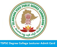 TSPSC Degree College Lecturer Admit Card