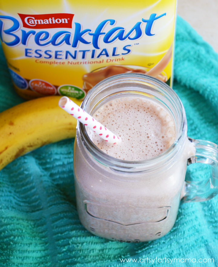 Breakfast Chocolate Milkshake Smoothie at artsyfartsymama.com #BreakfastEssentials #easyrecipe