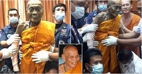 Dead Buddhist monk 'smiles' as body exhumed two months after buried