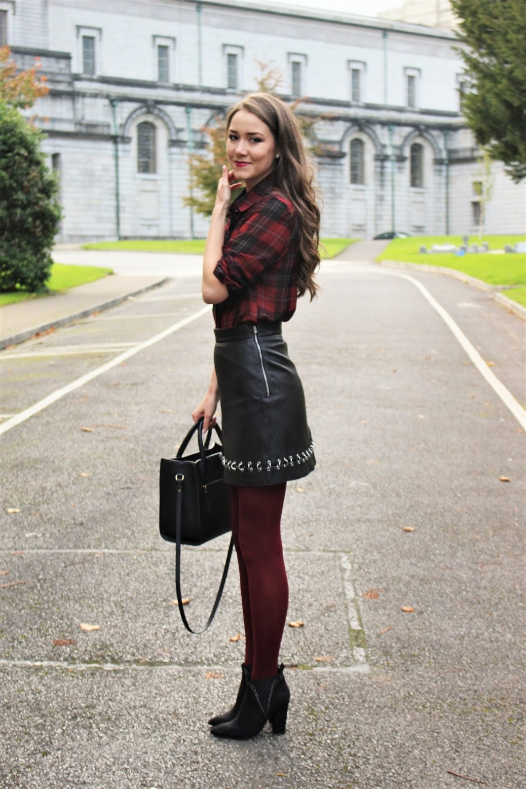 skirt and burgundy pieces