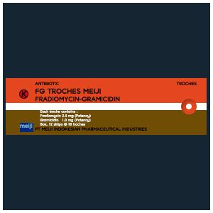 FG Troches Meiji : Fradiomycin, Gramicidin (Antibiotik)