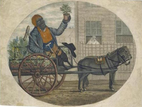 Illustration from England circa 1790 of a Black disabled flower-seller driving a mule-drawn cart and selling his wares